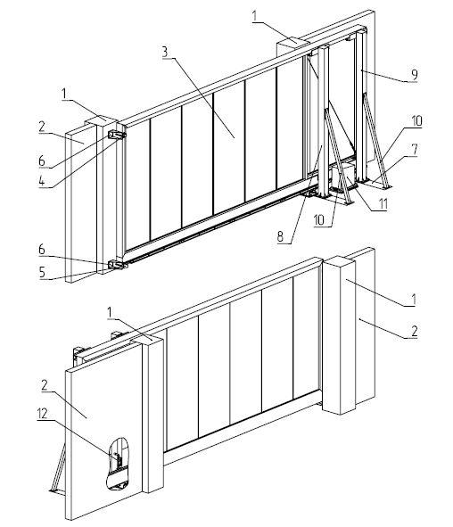 Конструкция откатных самонесущих ворот