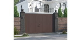 Распашные ворота в алюминиевой раме с заполнением сэндвич-панелями SWG-A