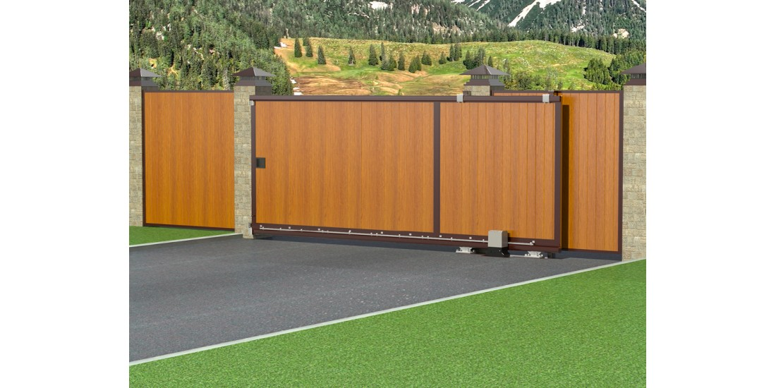 Откатные уличные ворота в алюминиевой раме с заполнением сэндвич-панелями SLG-A